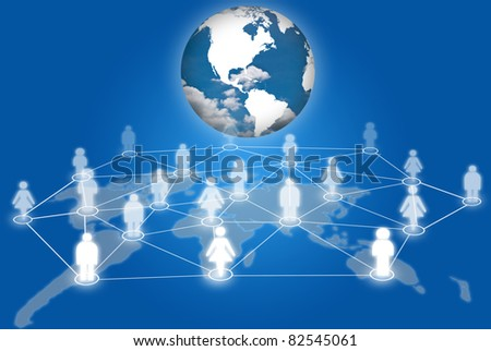 People social network communication social network with earth.