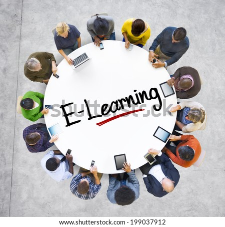 People Social Networking and E-Learning Concept - stock photo