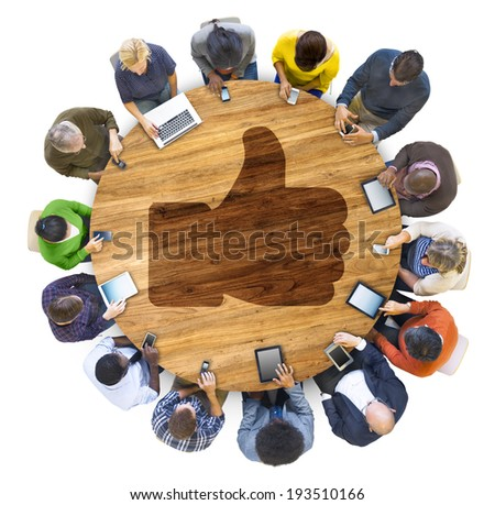People Social Networking and Thumbs Up Symbol - stock photo