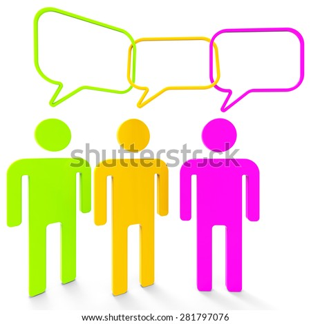 People Speaking Meaning Point Of View And Confab Chat - stock photo