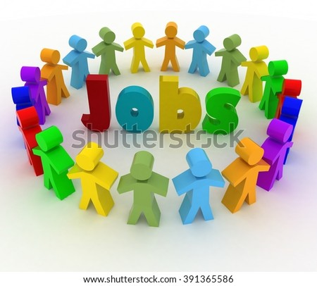 People stand around a word Jops. Career opportunity concept. 3d illustration on a white background.