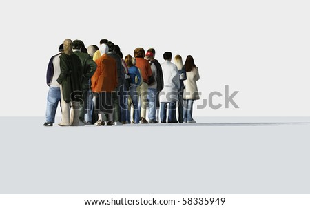 people standing in a line - stock photo