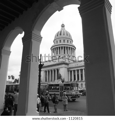 People standing in front of an arched building, Havana, Cuba