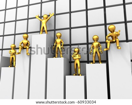 people standing on different levels of the chart. 3d - stock photo