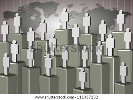 People standing on different levels with world map in the background / Corporate ladder people
