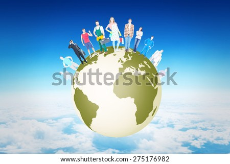 People standing on earth against blue sky over clouds at high altitude - stock photo