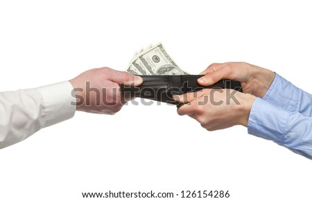 People struggling for wallet full of money - closeup shot of hands - stock photo