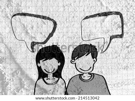 People talking and Speech Bubble