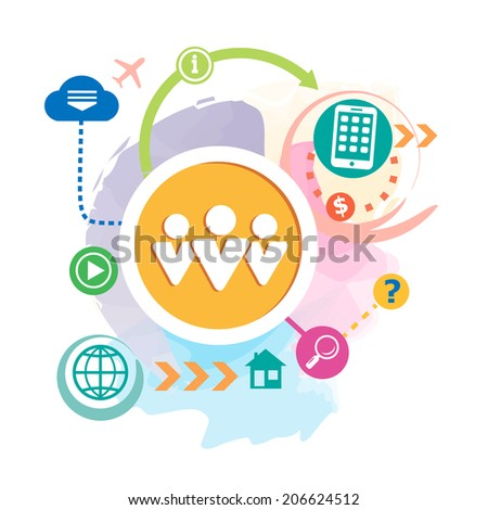 People team and mobile phone on abstract  background with different icon and elements. Raster version