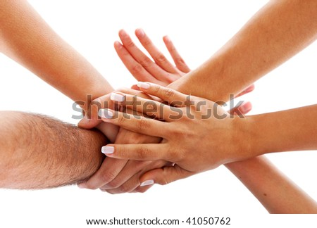 People teamwork with hands together isolated on white