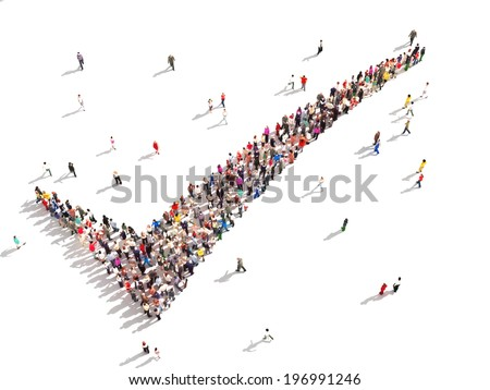 People that agree. Large group of people in the shape of a check mark on a white background. - stock photo