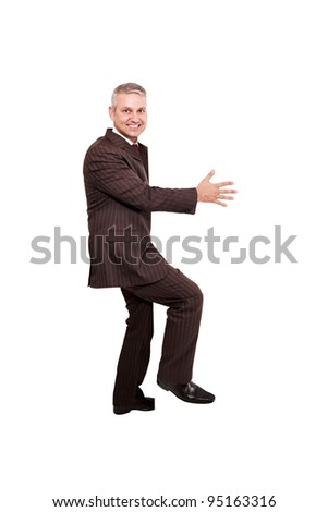 People theme: Businessman holding a placard