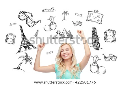 people, tourism, vacation and summer holidays concept - happy young woman or teenage girl celebrating victory over touristic doodles - stock photo