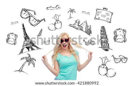 people, tourism, vacation and summer holidays concept - smiling young woman or teenage girl in heart shape sunglasses holding her strand of hair over touristic doodles - stock photo