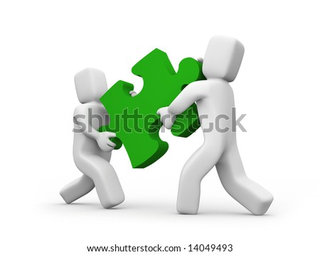 People transfer a puzzle - Teamwork concept Business concept isolated on white - stock photo