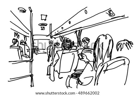 people travel on bus free hand sketch