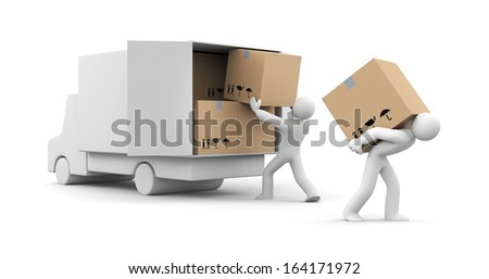 People unload a car - stock photo