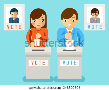 People vote candidates of different parties - stock photo