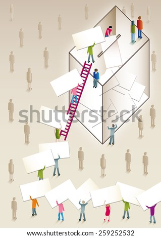 people voting in a ballot box with a ladder - stock photo