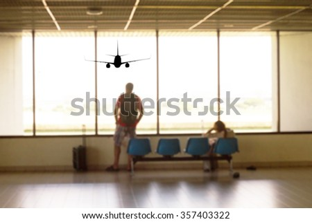 People waiting airplane at airport