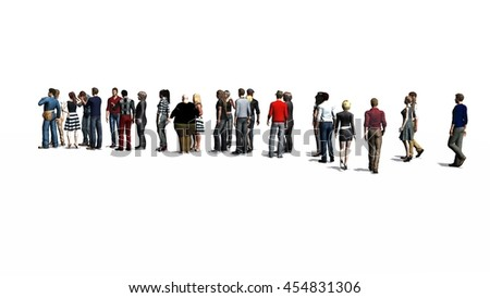 People waiting in line -  isolated on white background. 3D illustration