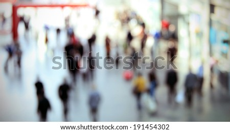 People walking, blurred post-production background