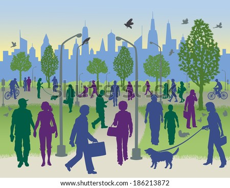 People Walking in a City Park - stock photo