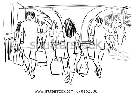 People Walking In Shopping Mall Cartoon Drawing