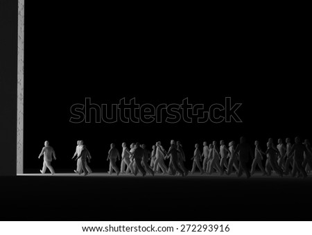 people walking into the light - stock photo