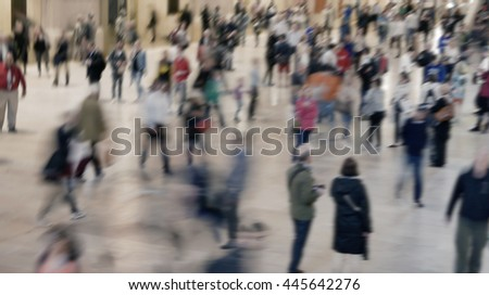 people walking on crowded public street. anonymous pedestrians commuting in the city. society population growth background