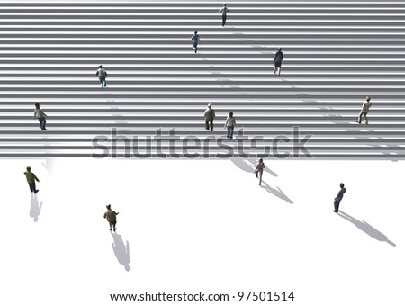 people walking on stairs - stock photo