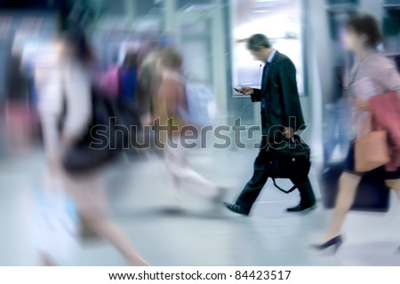 People Walking to Work. Office Workers, Motion Blur. - stock photo