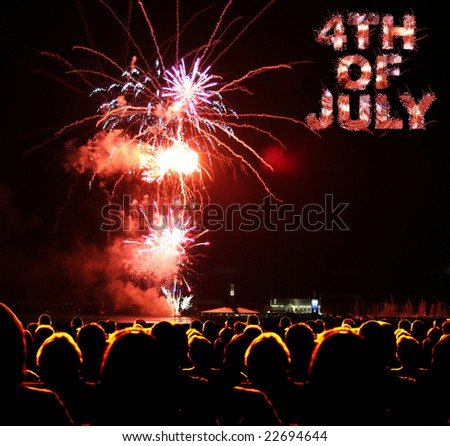 People watch fireworks display for 4th of july - stock photo