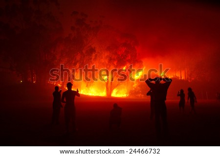 People watching forest fire in night. Shot in Stellenbosch, Western Cape, South Africa. - stock photo