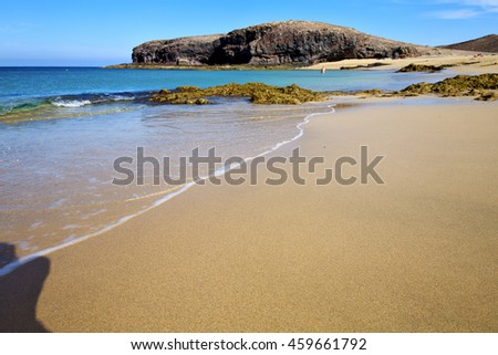 people water in lanzarote coastline  froth  spain pond  rock stone sky cloud beach   musk  and summer   - stock photo