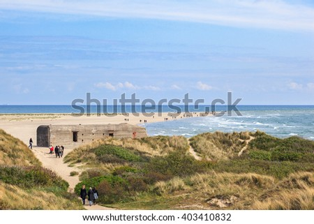 People who walk out to the tip of Skagen - stock photo