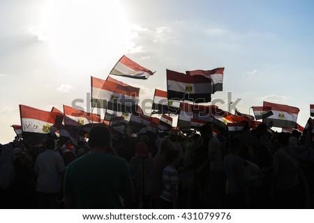 People with Egyptian Flags - Alexandria, Sidi Gaber, Egypt 30 June 2013 - stock photo
