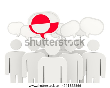 People with flag of greenland isolated on white - stock photo