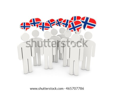 People with flag of norway isolated on white. 3D illustration