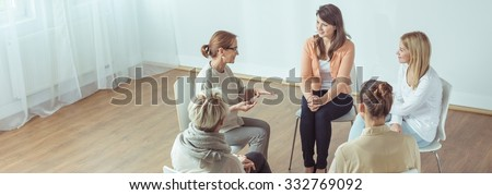 People with mental problem during meeting of support group - stock photo