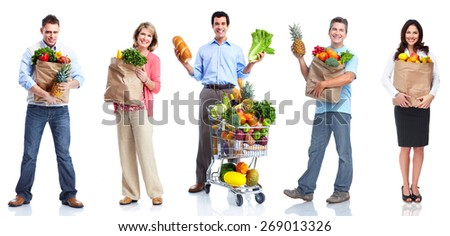 People with vegetables and fruits isolated on white background. - stock photo