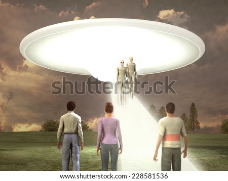 People witnessing the arrival of aliens - stock photo