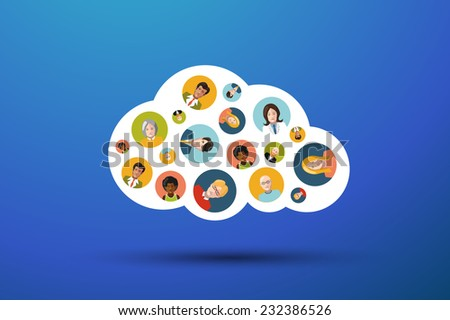 People Working In Cloud, flat illustration - stock photo