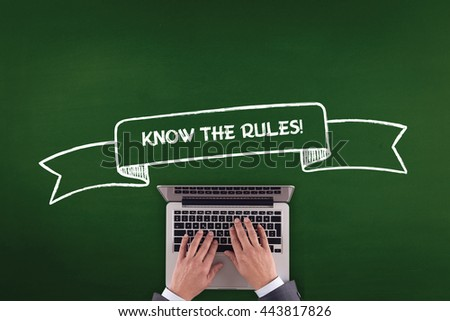 PEOPLE WORKING OFFICE COMMUNICATION  KNOW THE RULES! TECHNOLOGY CONCEPT - stock photo