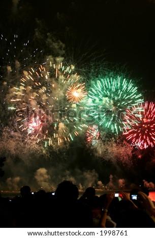 Peoples watching firework display at Singapore - stock photo
