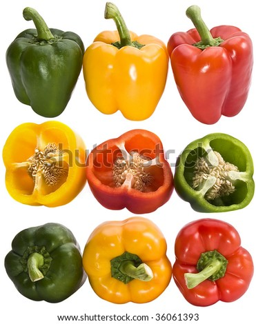 Pepper collection isolated on the white background