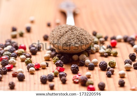pepper in silver spoon on wooden background
