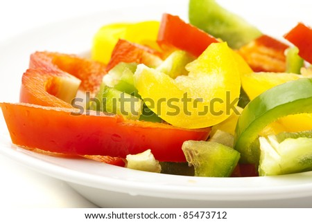 pepper slices on plate on a white background