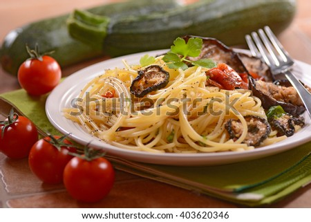pepper spaghetti with grilled vegetables