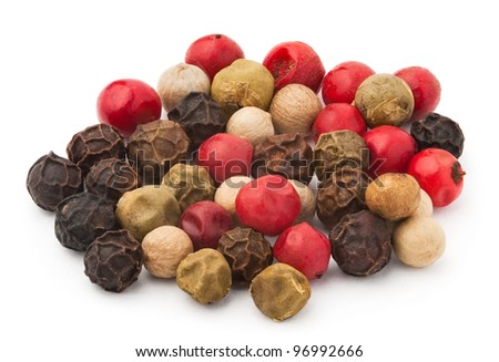 pepper spice of different colors against white background - stock photo